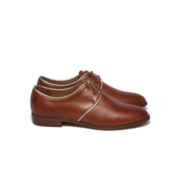 derbies shoes woman leather pied de biche cognac