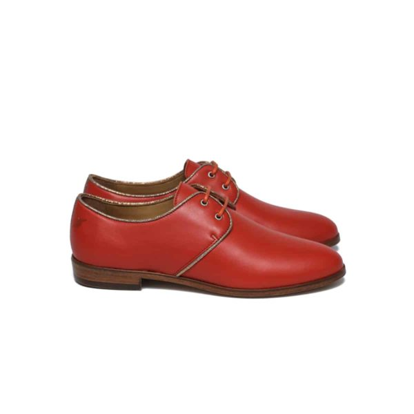 tangerine gold derbies pied de biche shoes woman