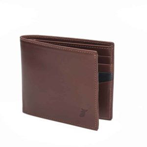 wallet leather marron man pied de biche cardholder