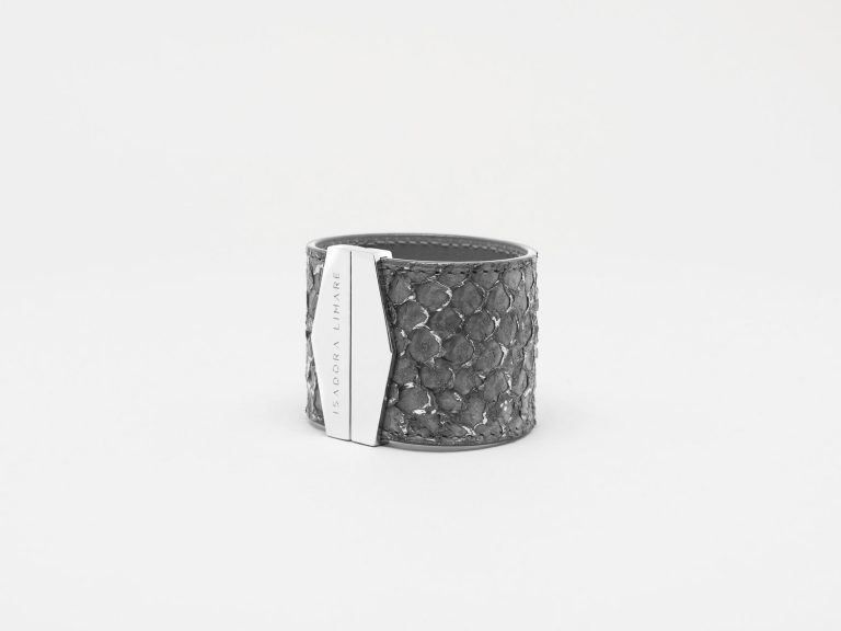 isadora limare cuff bracelet fish leather grey fashion woman