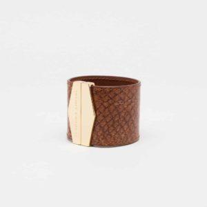 isadora limare cuff bracelet sahara leather cuir salmon fashion woman