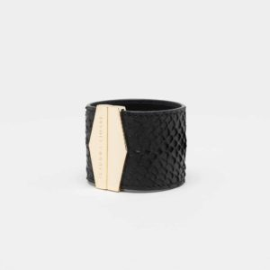 isadora limare cuff bracelet dark leather salmon fashion woman
