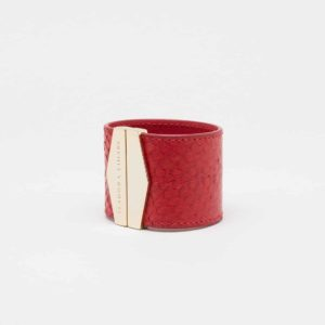 isadora limare pomodoro cuff salmon leather slow fashion