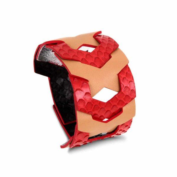 Jasmine leahter snake cuff woman handmade jewellery bracelet camille roussel