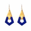 Ruby gold luxury handmade leather gold earrings camille roussel paris