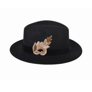 SASHA EBONY Embroidery hat by MARADJI - L'Erudite Concept Store black wool velvet