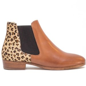 shoes leather leopard pied de biche woman