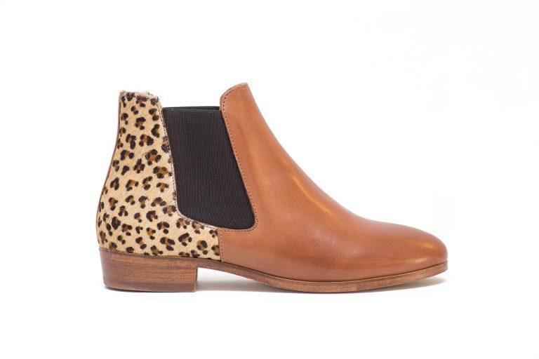 shoes leather leopard pied de biche woman