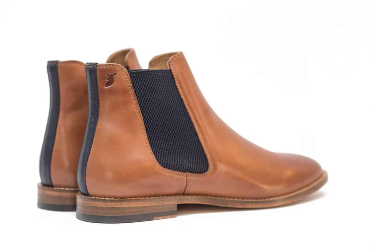 chelsea boots cuir chaussures homme pied de biche cognac bleu nuit