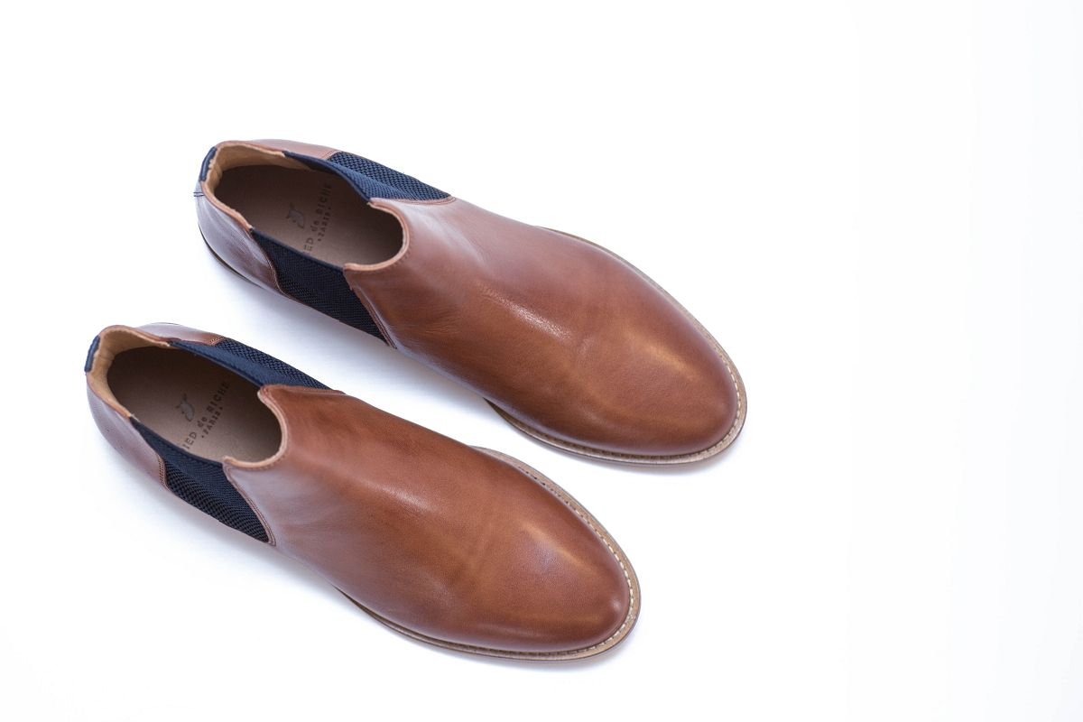 chelsea boots bottines cuir chaussures homme pied de biche cognac bleu nuit