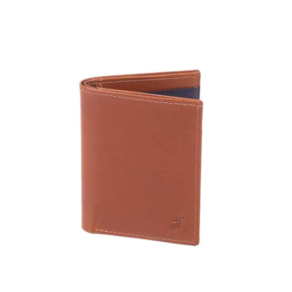 Cardholder Cognac and Blue Night booklet size by Pied de Biche.