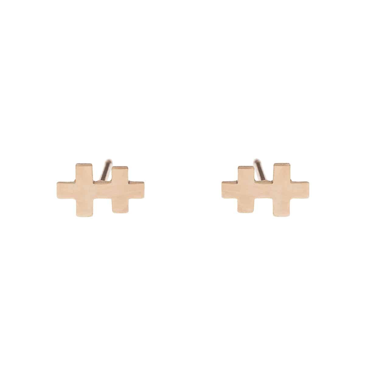 boucles d'oreille mini T rose coralie de seynes l'Erudite Concept Store