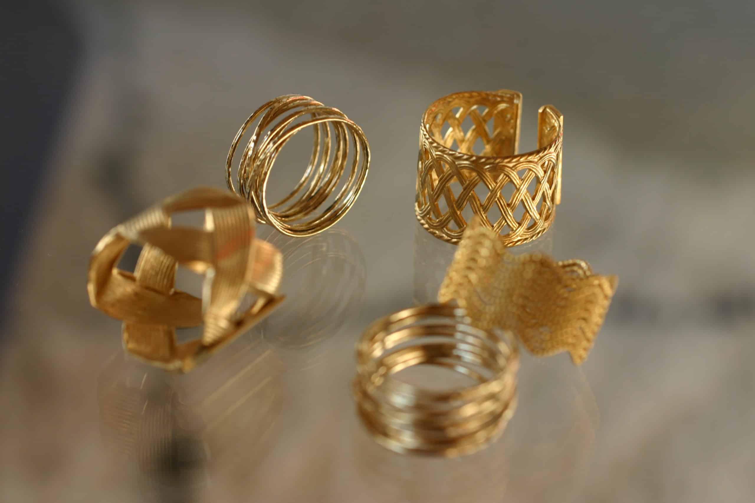 aristide anillo collection constance ajustable dorado hecho a mano paris