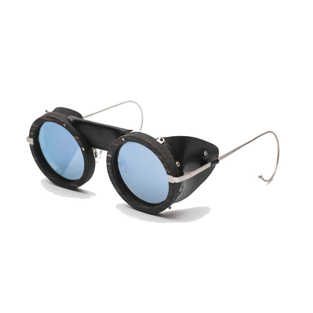Sunglasses ski HOUSTON revo solar blue Ebony REZIN handmade leather UV 400 l'Erudite Concept Store