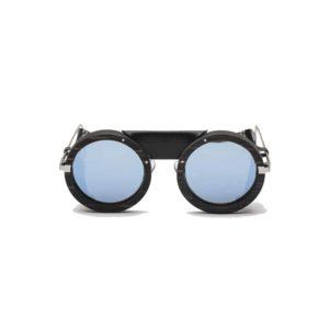 Lunettes de soleil ski HOUSTON revo solar blue Ebony REZIN handmade leather UV 400 l'Erudite Concept Stire