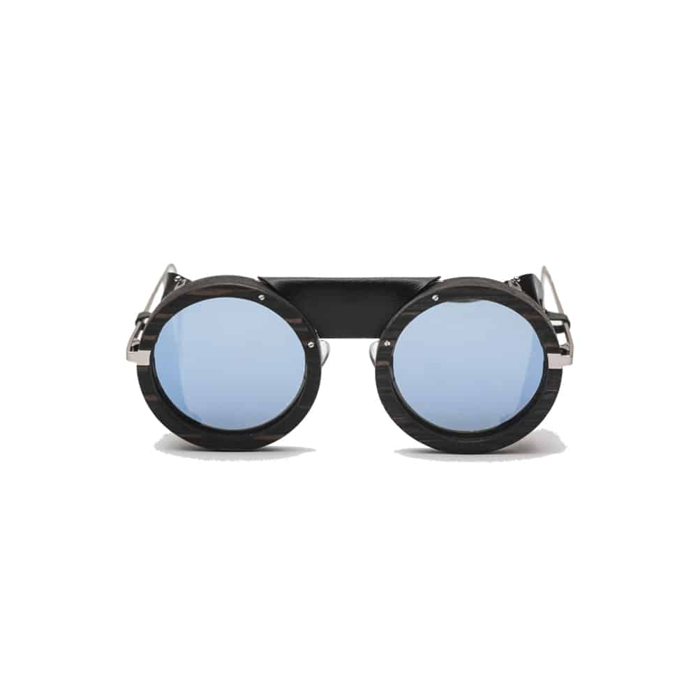 Lunettes de soleil ski HOUSTON revo solar blue Ebony REZIN handmade leather UV 400 l'Erudite Concept Stire