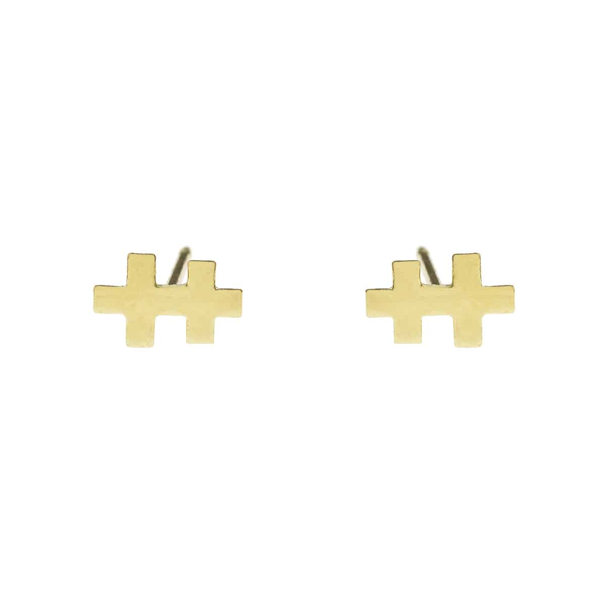 golden earrings handmade mini T woman fashion jewellery coralie de seynes l'erudite concept store