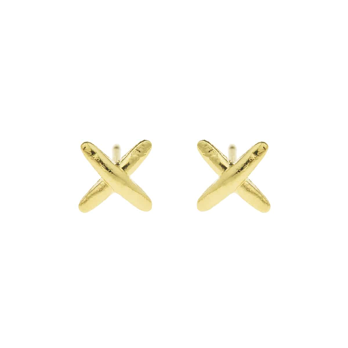 golden X handmade earrings jewellery coralie de Seynes l'Erudite Concept Store
