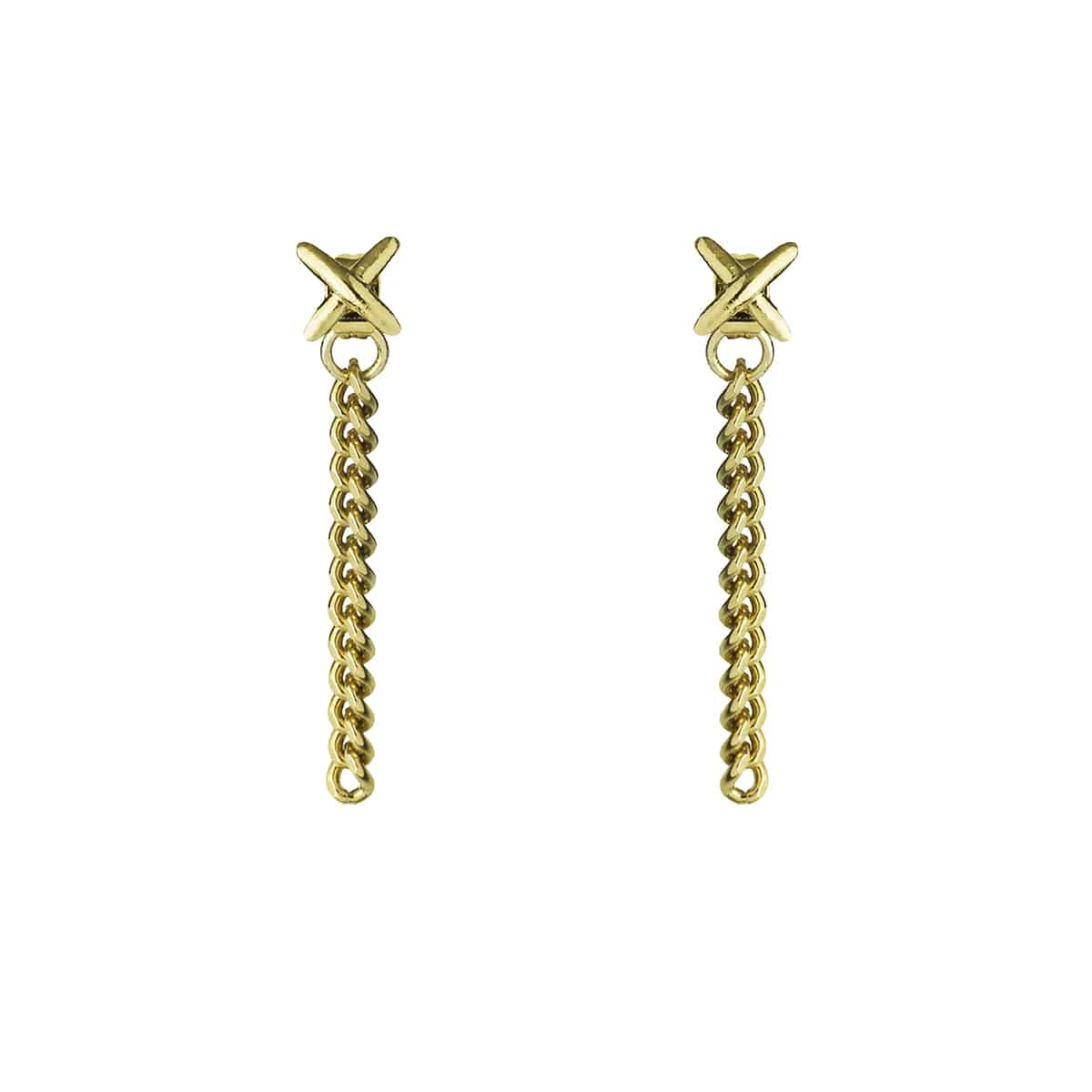 long golden X earrings coralie de seynes l'Erudite Concept Store handmade brass
