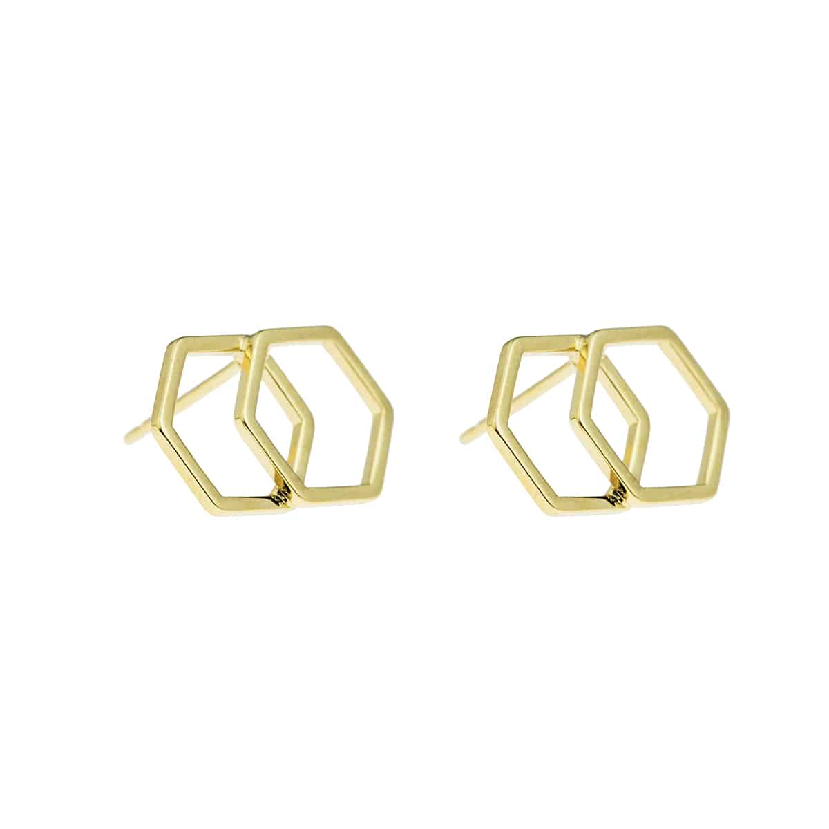 golden hexagone earrings coralie de seynes l'Erudite Concept Store handmade