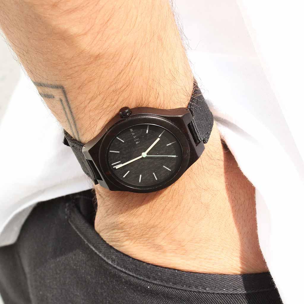 Montre IGRIS Cuir noir par TIME FOR WOOD