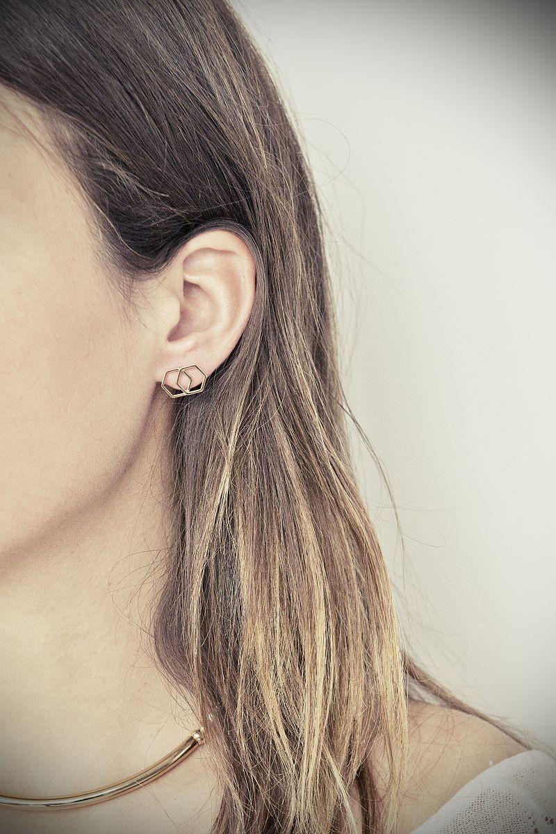 boucles d'oreille hexagone coralie de seynes l'Erudite Concept Store handmade
