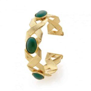 pulsera Ariane de oro piedras agata verde collection constance joyas mujer
