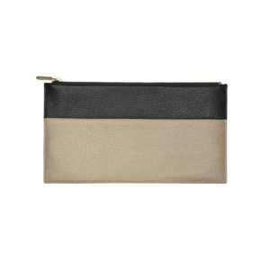 clutch leather handmade collection constance taupe black l'Erudite Concept Store