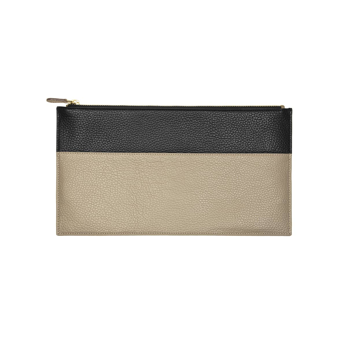 pochette plate cuir handmade collection constance taupe noir l'Erudite Concept Store