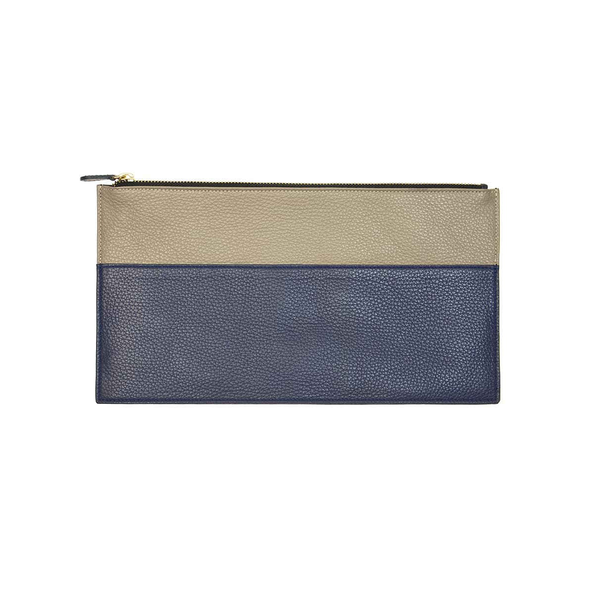 Slim leather handmade clutch blue & taupe by CORALIE DE SEYNES - L'Erudite Concept Store