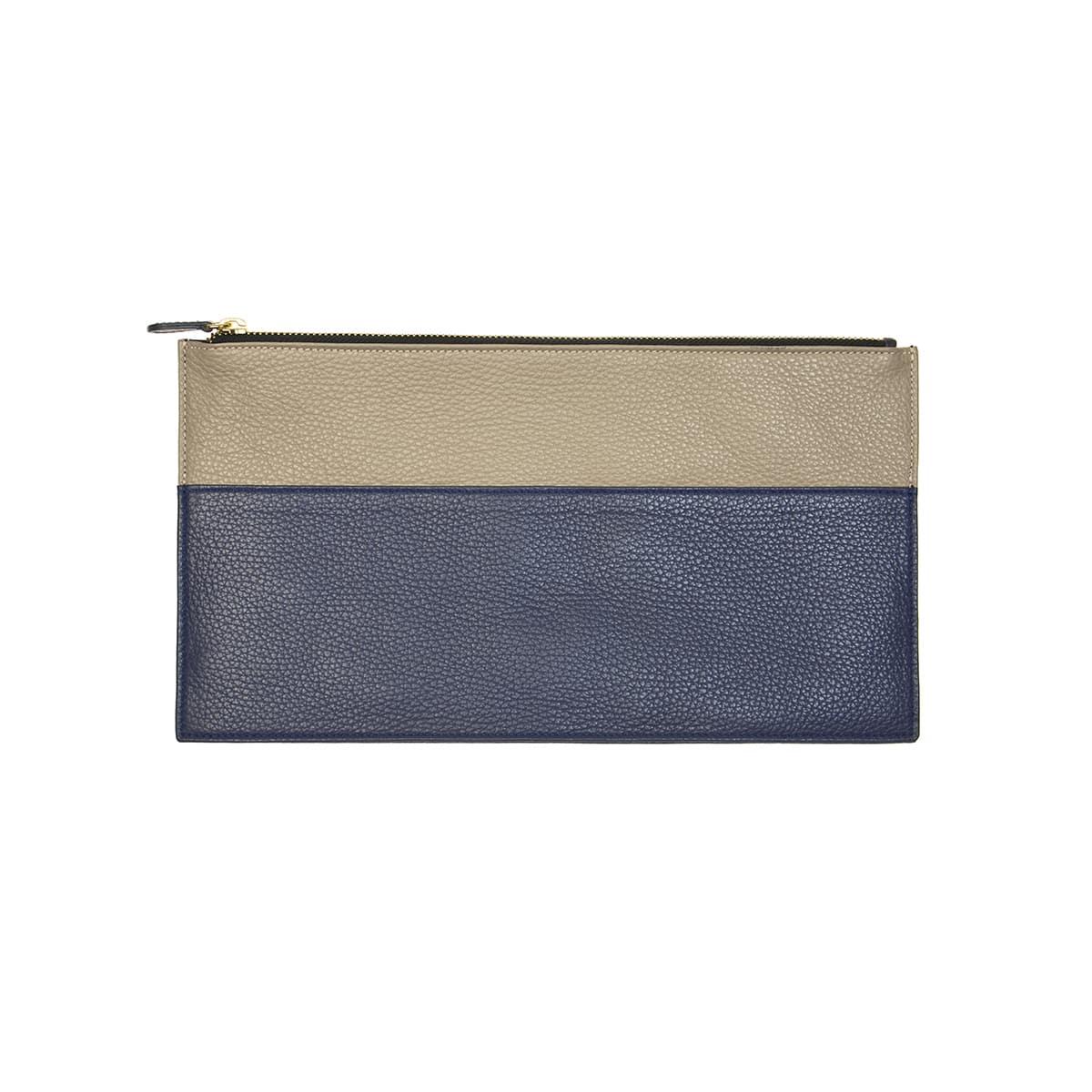 pochette plate handmade bleu taupe cuir CORALIE DE SEYNES - L'Erudite Concept Store