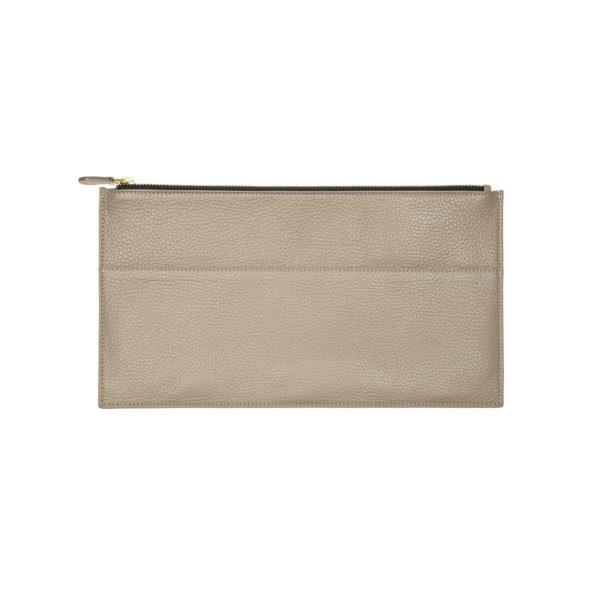 Slim clutch leather handmande taupe by CORALIE DE SEYNES - L'Erudite Concept Store