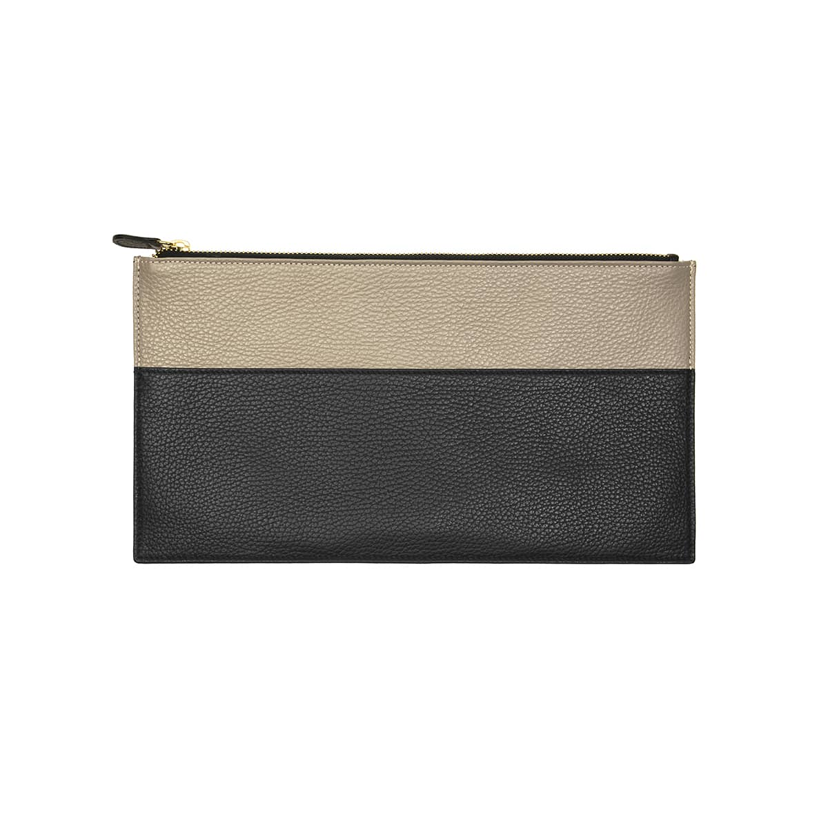 Slim Clutch - black & taupe by Coralie de Seynes Cow leather. Golden Zip. Clutch bagcomes with a cotton cover. Material: Blackand taupe grained cowleather. Golden zip and cotton Lining.