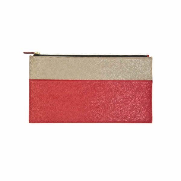 leather clutch coralie de seynes red taupe l'Erudite Concept Store