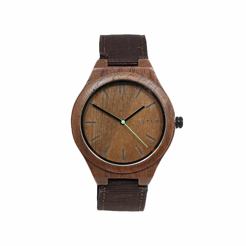 Montre IGRIS Nylon marron en bois d'ébène faite à la main.