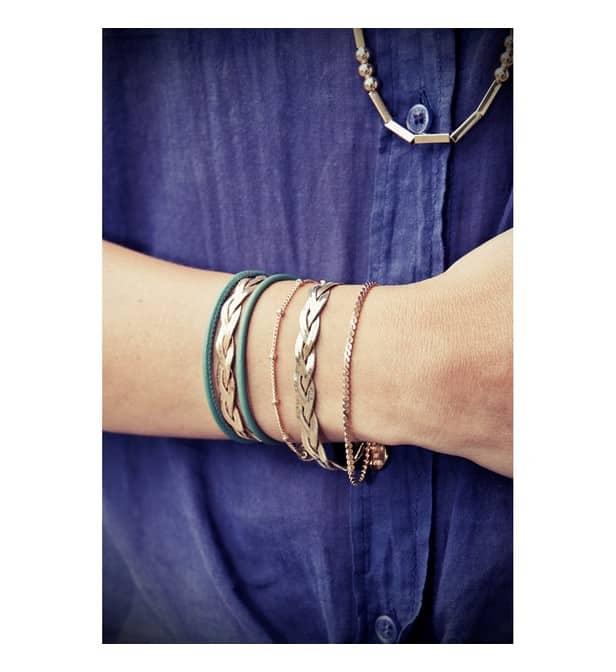 coralie de seynes bracelet rose triple tresse