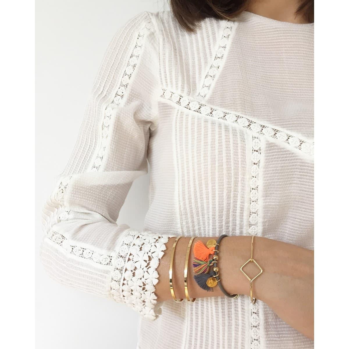 pulsera sequin piel cuero pompon coralie de seynes joyas mujer