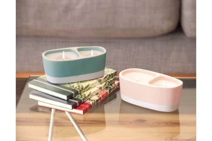 bougies vert gris la belle meche jars ceramistes collaboration