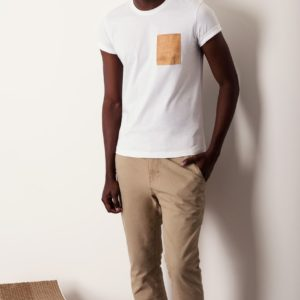 tee shirt blanc cuir naturel liege basus mode homme