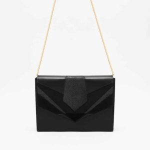 Isadora Limare fish leather bag clutch black shoulder strap velvet