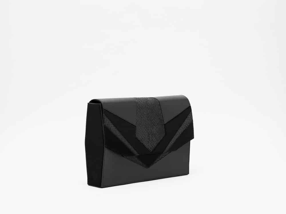 Isadora limare piel cuero pez sobre terciopelo bolso lujo negro salmon paris