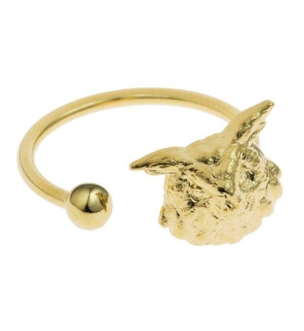 hibou doré bague ajustable coralie de seynes doré