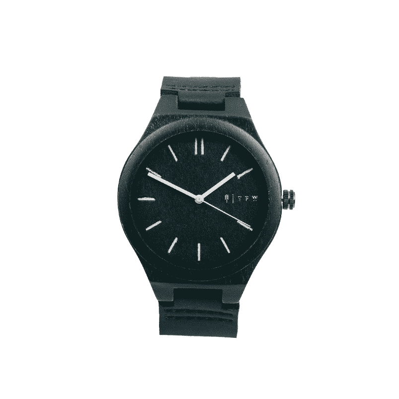 Watch CEYLIS black leather by TIME FOR WOOD